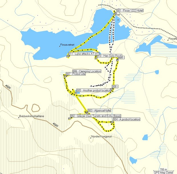 GPS Map of Finse locations