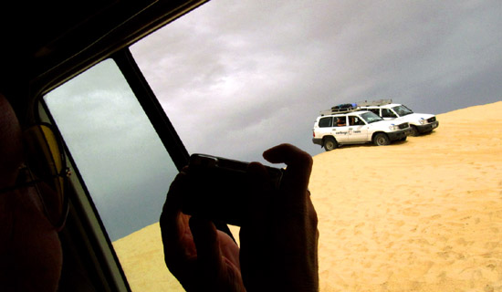 driving through the dunes in our 4WD