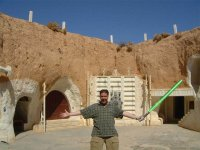 Simon with lightsaber inside hotel