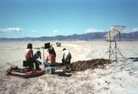 Star Wars film crew at what appears to be Koehn Dry Lake Bed west of Randsburg.