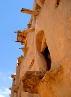 The wooden sticks were once used in pulley systems that would bring the grains up to the top ghorfas of the ksar.