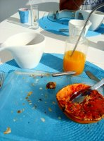 First breakfast in Tunisia... the grapefruit had some sort of local spice that cut the sourness of the fruit.