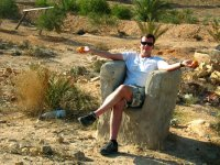 Wow!  A natural rock chair on the side of the road!